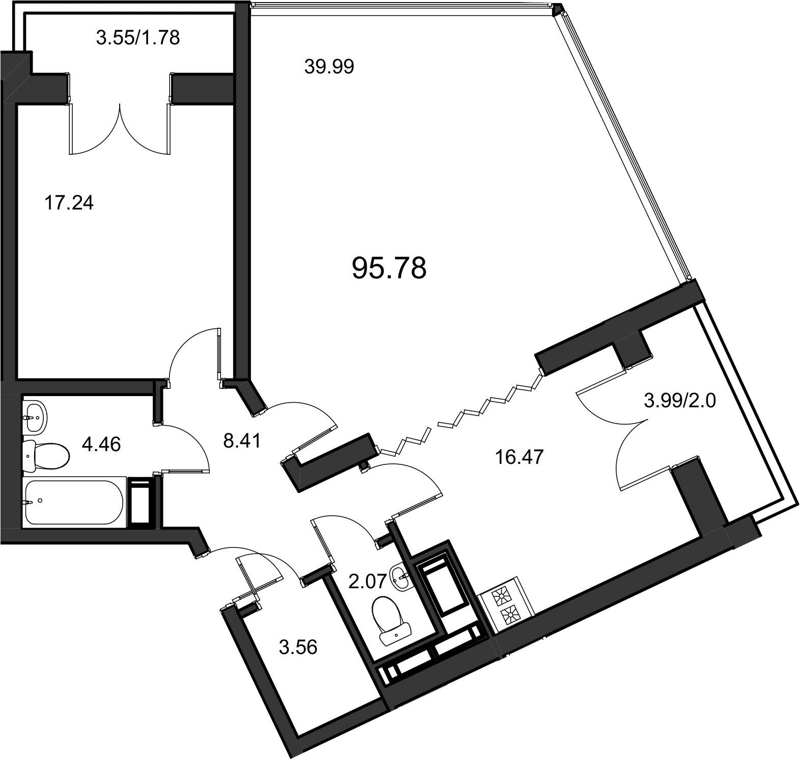 2Е-к.кв, 96.7 м²