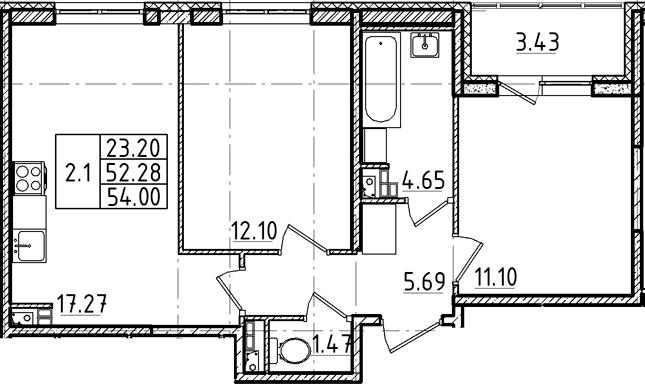 3Е-комнатная, 52.28 м²– 2