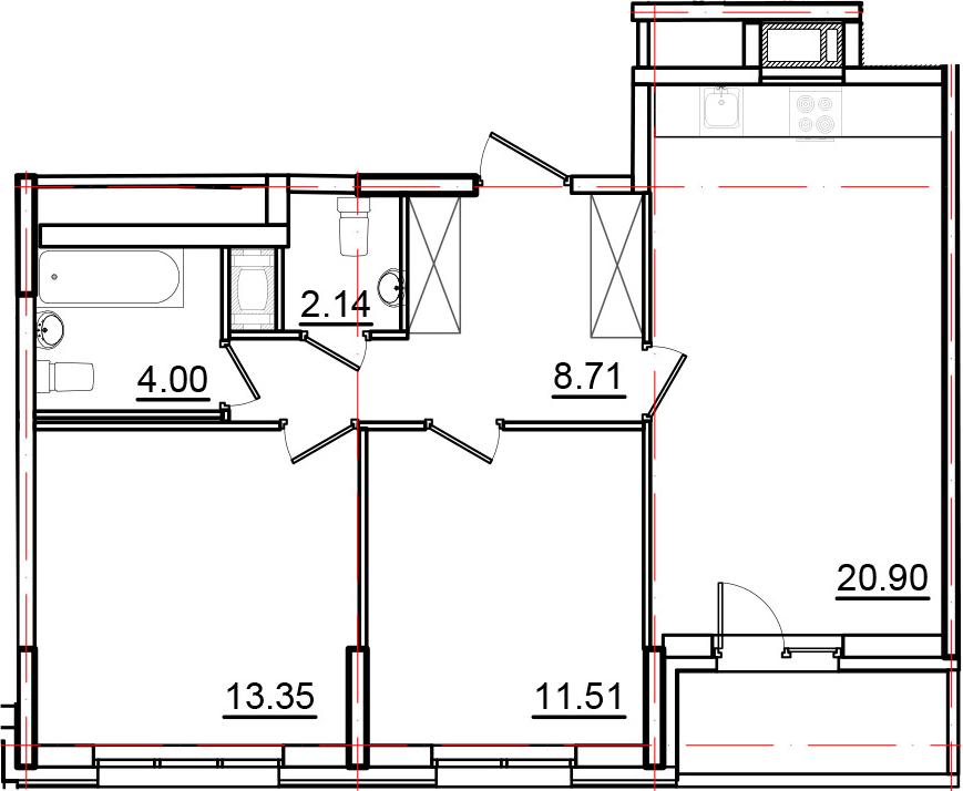 3Е-к.кв, 62.43 м², от 3 этажа