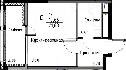 Студия, 23.61 м²
