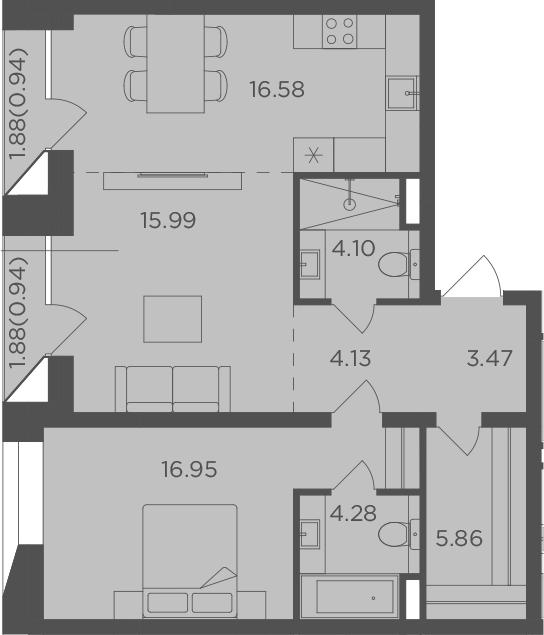 2-комнатная квартира, 73.24 м², 11 этаж – Планировка