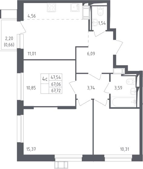 4Е-к.кв, 67.72 м², 8 этаж