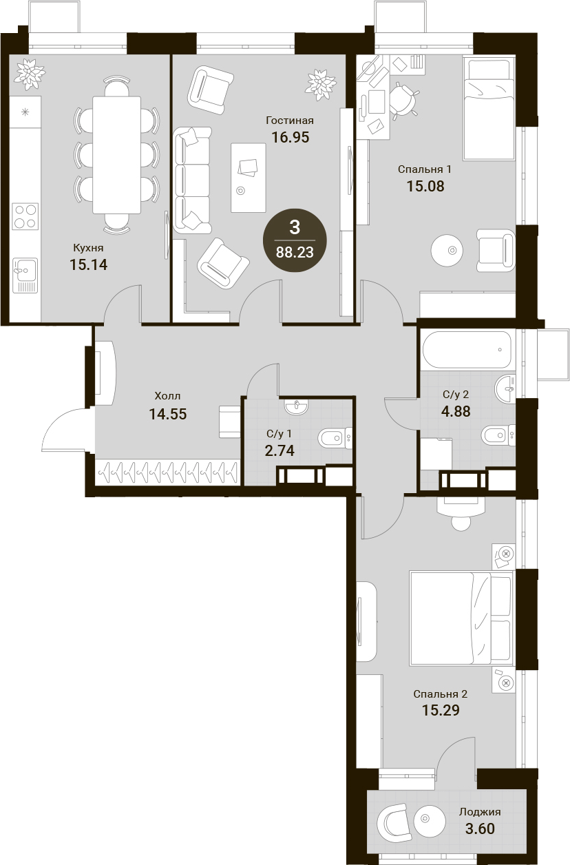 4Е-комнатная, 88.23 м²– 2