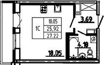 Студия, 27.22 м², 11 этаж