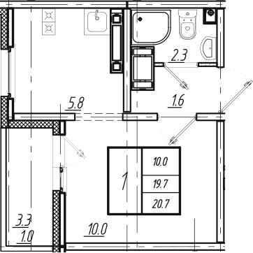 1-к.кв, 20.7 м²