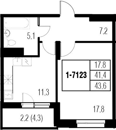 1-к.кв, 45.8 м²