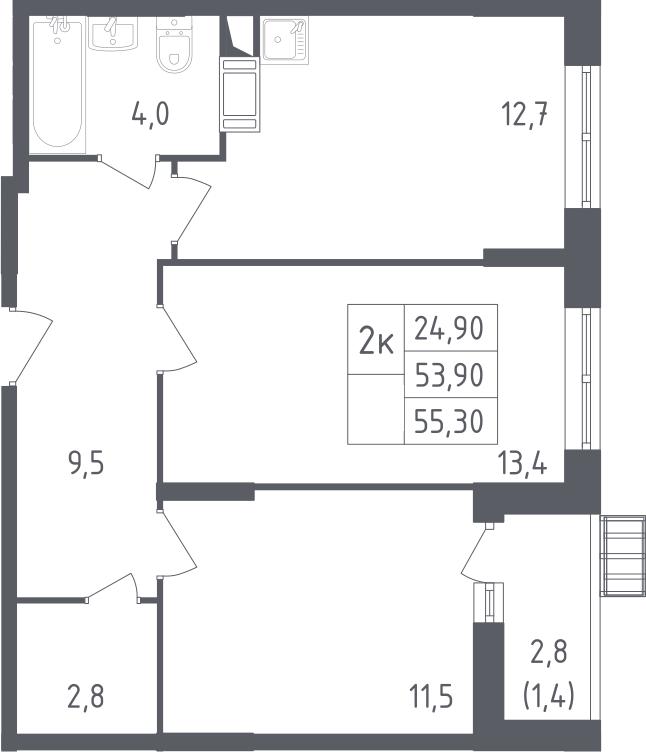 2-комнатная, 55.3 м²– 2