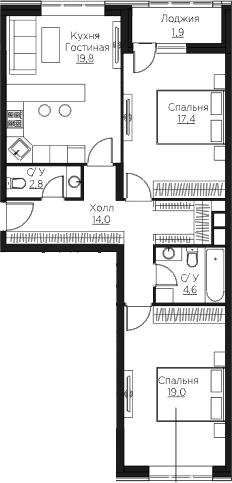 3Е-к.кв, 79.5 м²