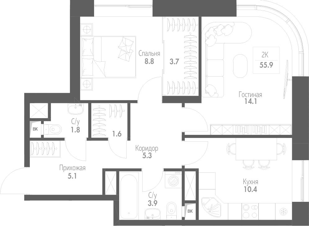 2-к.кв, 55.9 м²