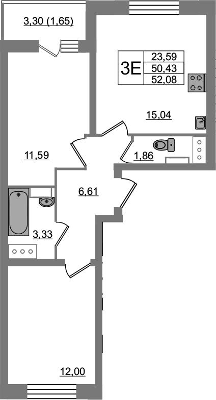 3-к.кв (евро), 53.73 м²