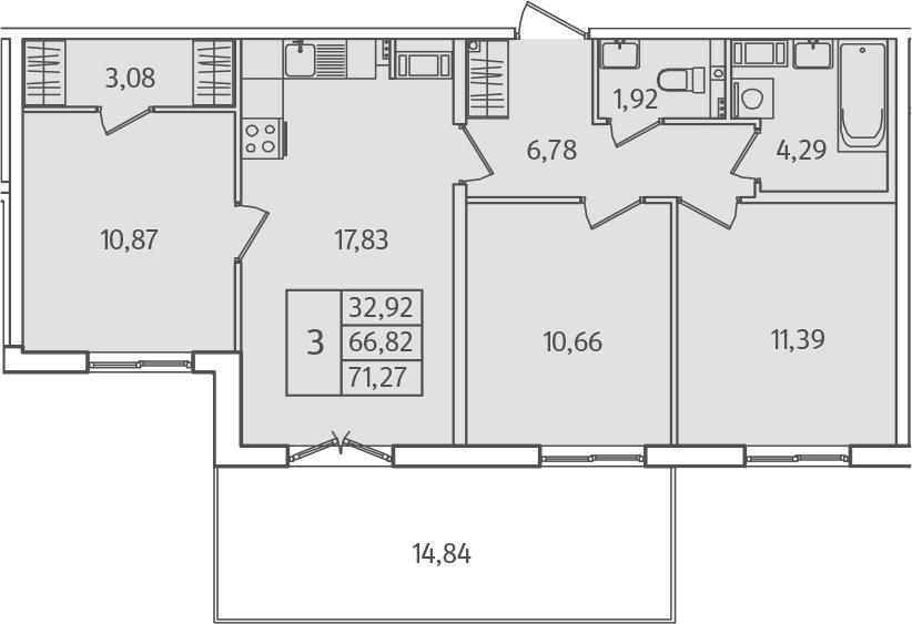 4Е-к.кв, 71.27 м²