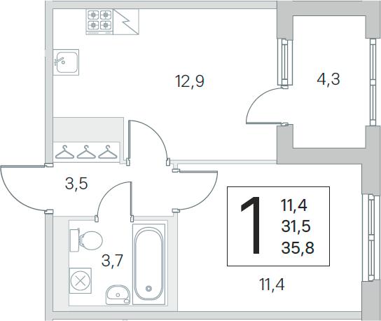 1-к.кв, 31.5 м², 2 этаж