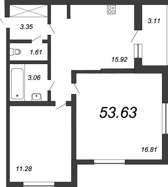 2-к.кв, 55.81 м²