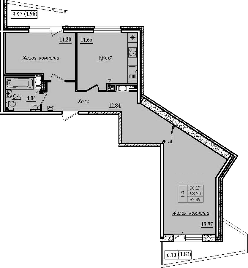 2-к.кв, 62.49 м²