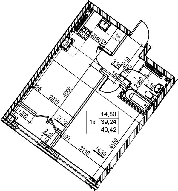 2Е-комнатная, 40.42 м²– 2
