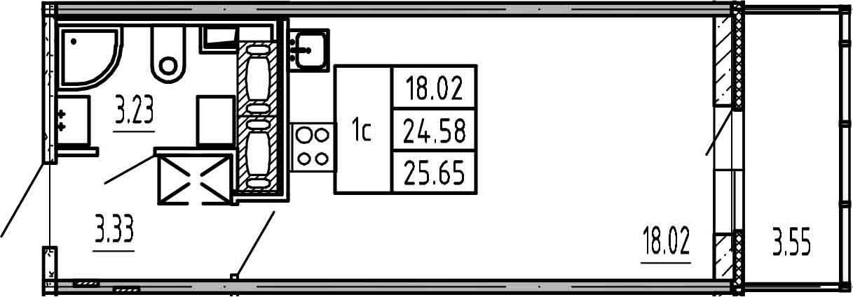 Студия, 24.58 м², 16 этаж