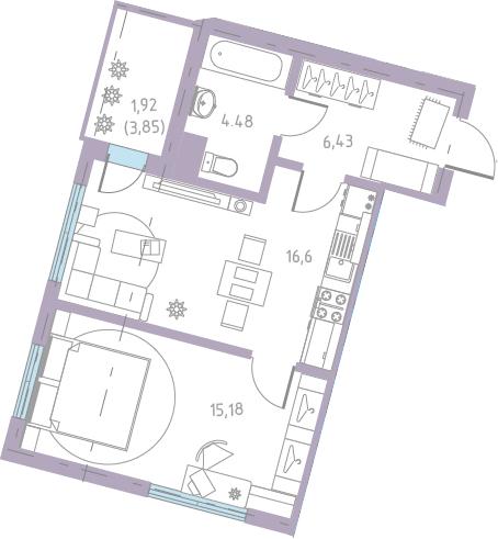 2-к.кв (евро), 46.52 м²