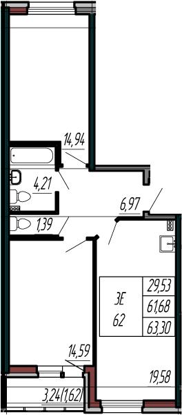 3-к.кв (евро), 64.92 м²