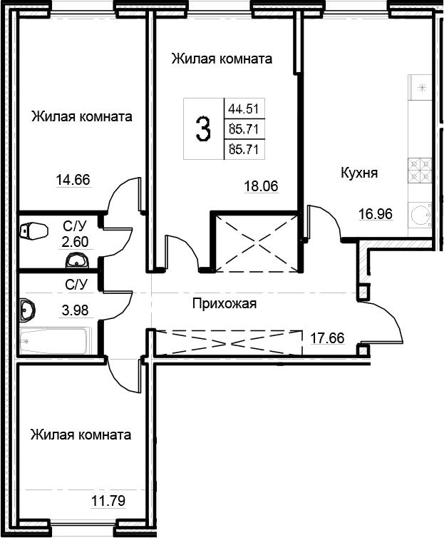 3-к.кв, 85.71 м²