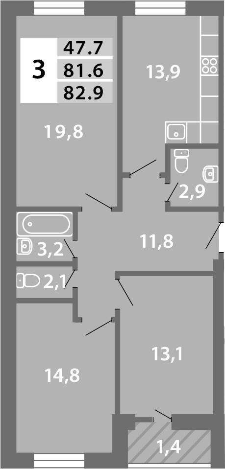 3-к.кв, 84.37 м²