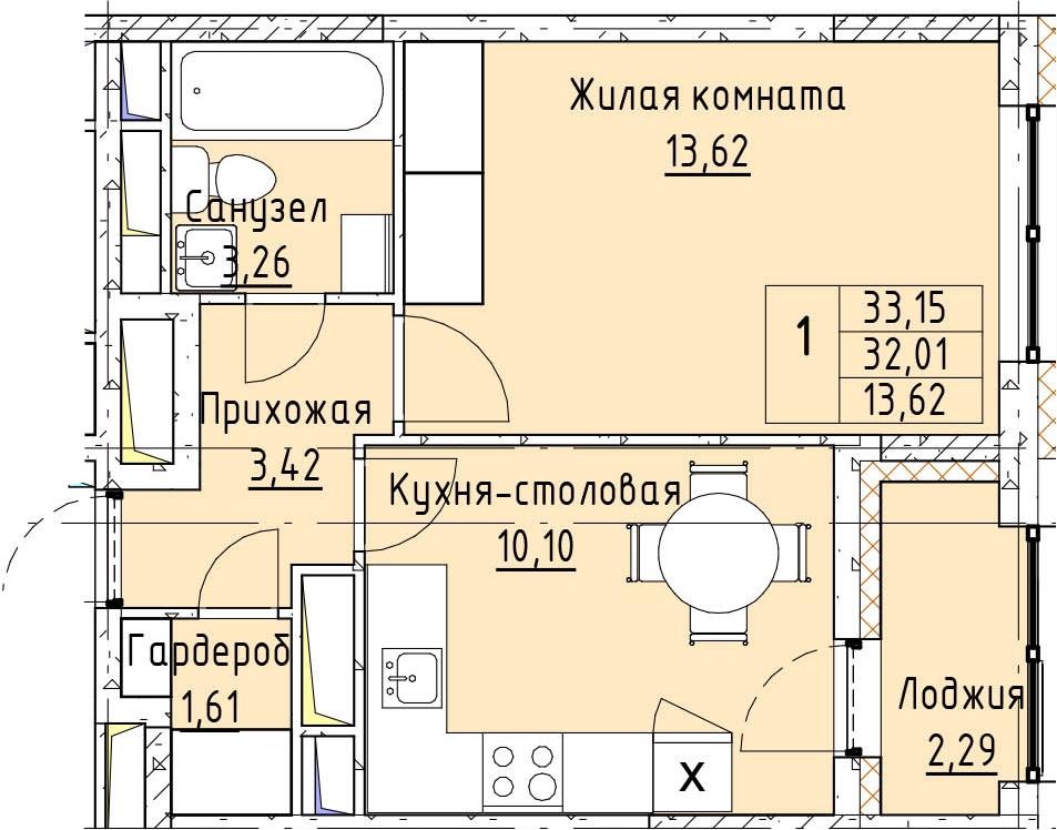 1-комнатная, 33.15 м²– 2