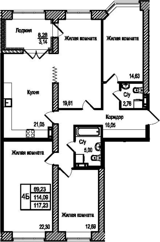 4-к.кв, 120.37 м²