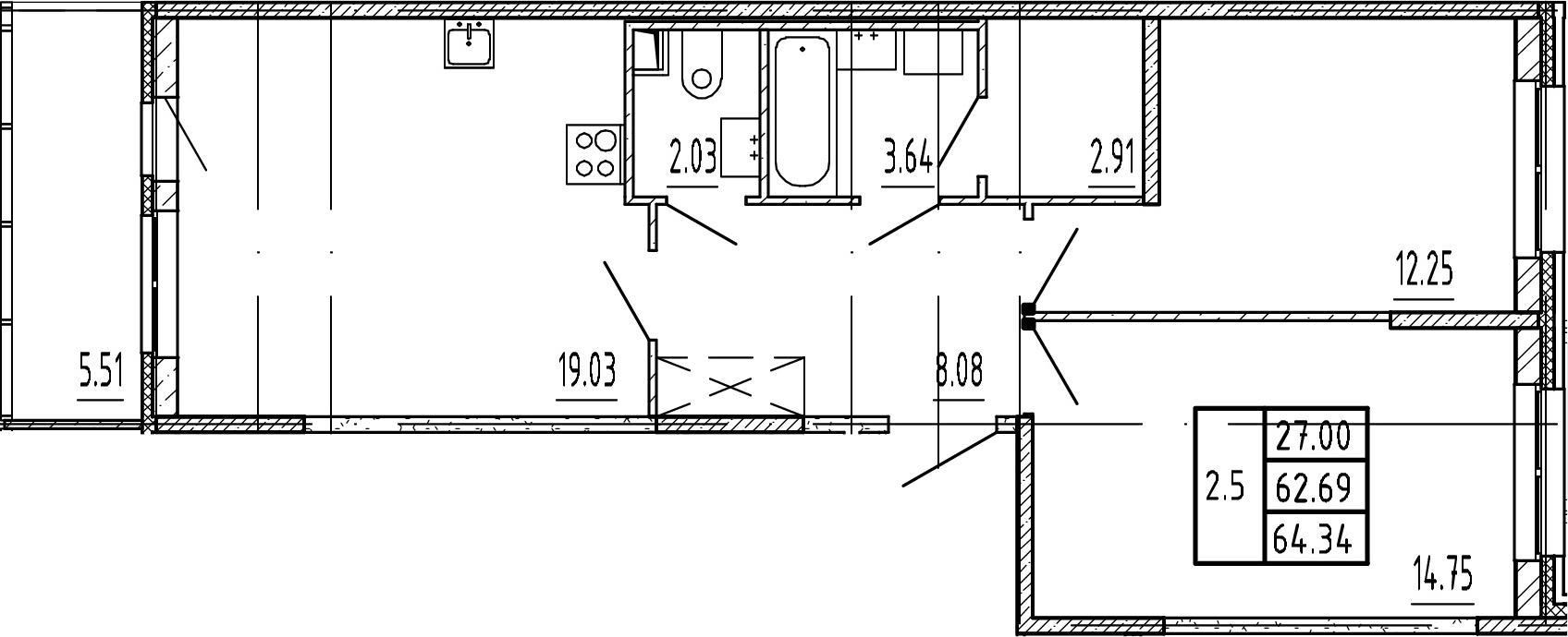 3Е-комнатная, 62.69 м²– 2
