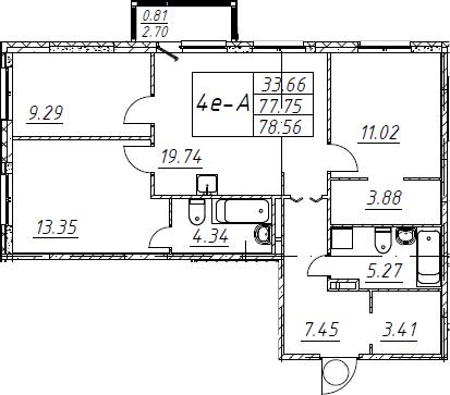 4Е-комнатная, 78.56 м²– 2