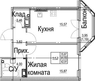1-к.кв, 42.91 м²