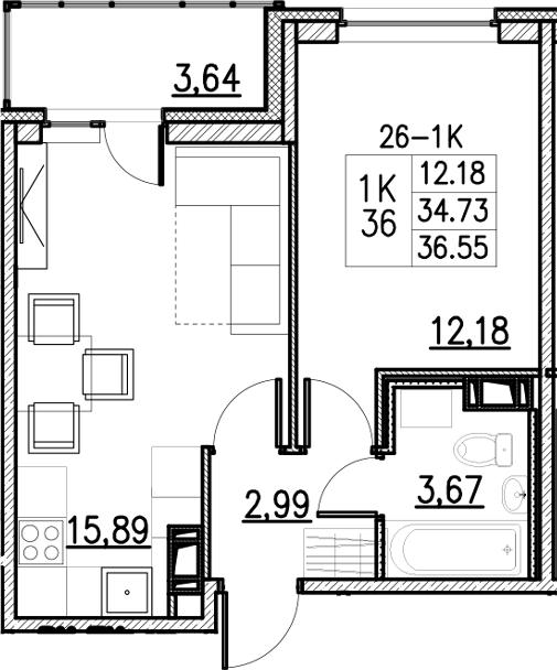 2Е-к.кв, 36.55 м²