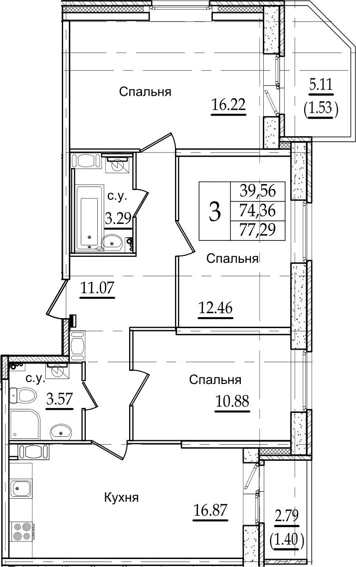 4Е-к.кв, 77.29 м², 9 этаж