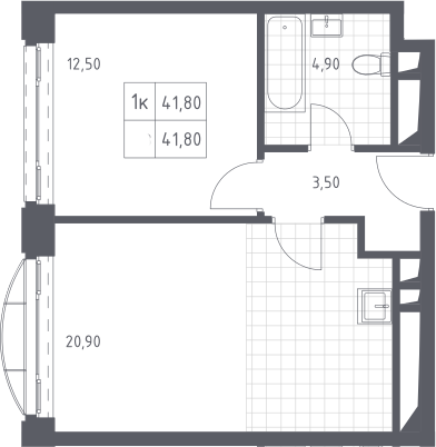 2Е-к.кв, 41.8 м²
