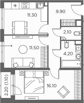 2-к.кв, 56.2 м²