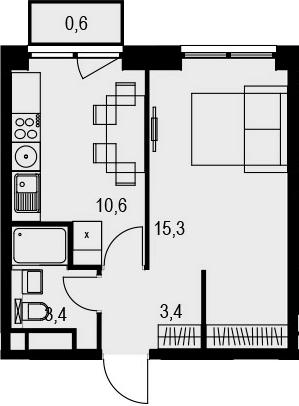 1-к.кв, 33.3 м²