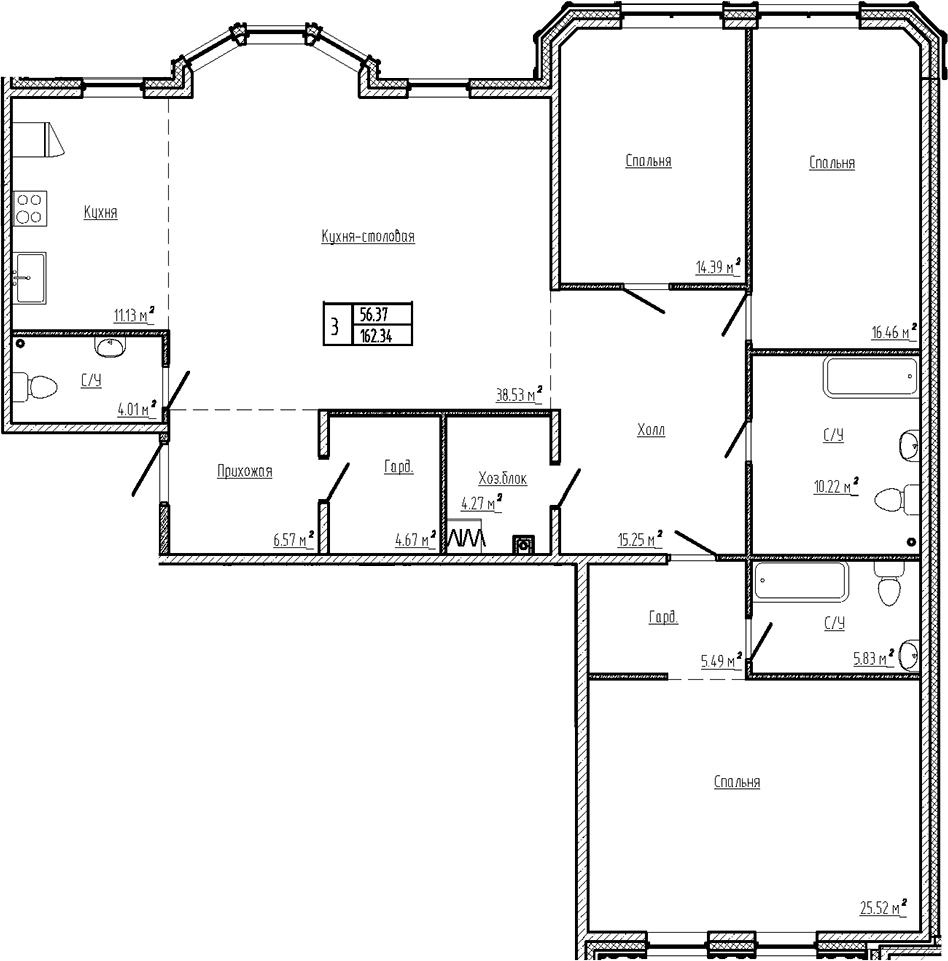 4Е-к.кв, 162.35 м²