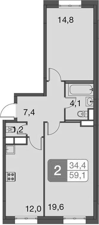 2-к.кв, 59.1 м²