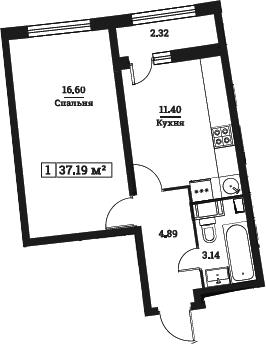 1-комнатная, 37.19 м²– 2
