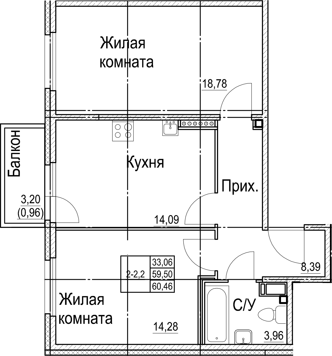 2-к.кв, 60.46 м², 8 этаж