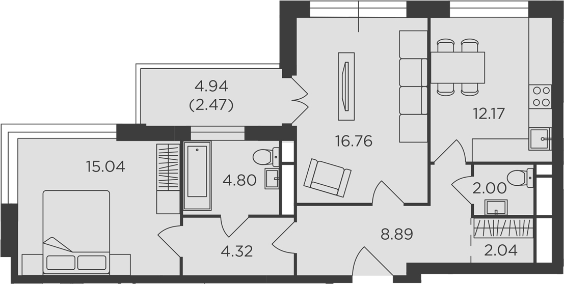 2-к.кв, 68.49 м², 21 этаж