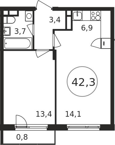 2-к.кв (евро), 44.17 м²