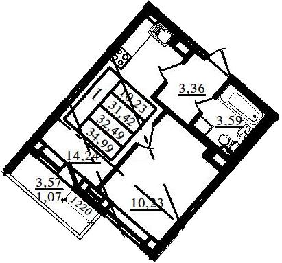 2Е-к.кв, 31.42 м², 15 этаж
