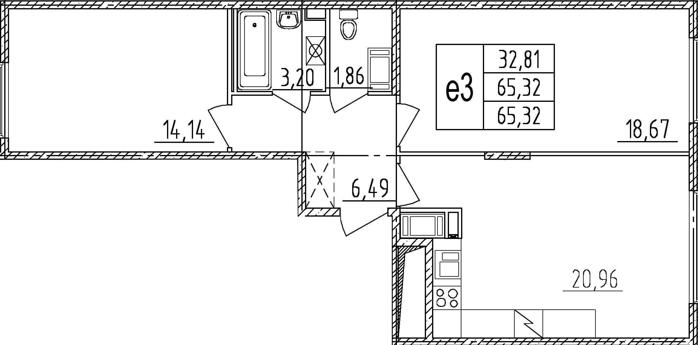 3Е-комнатная, 65.32 м²– 2