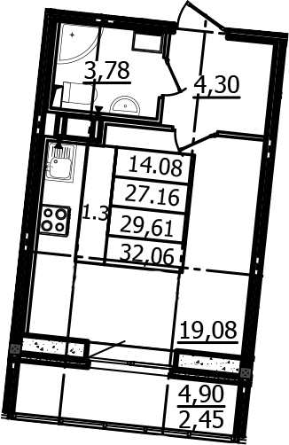 Студия, 27.16 м², 9 этаж