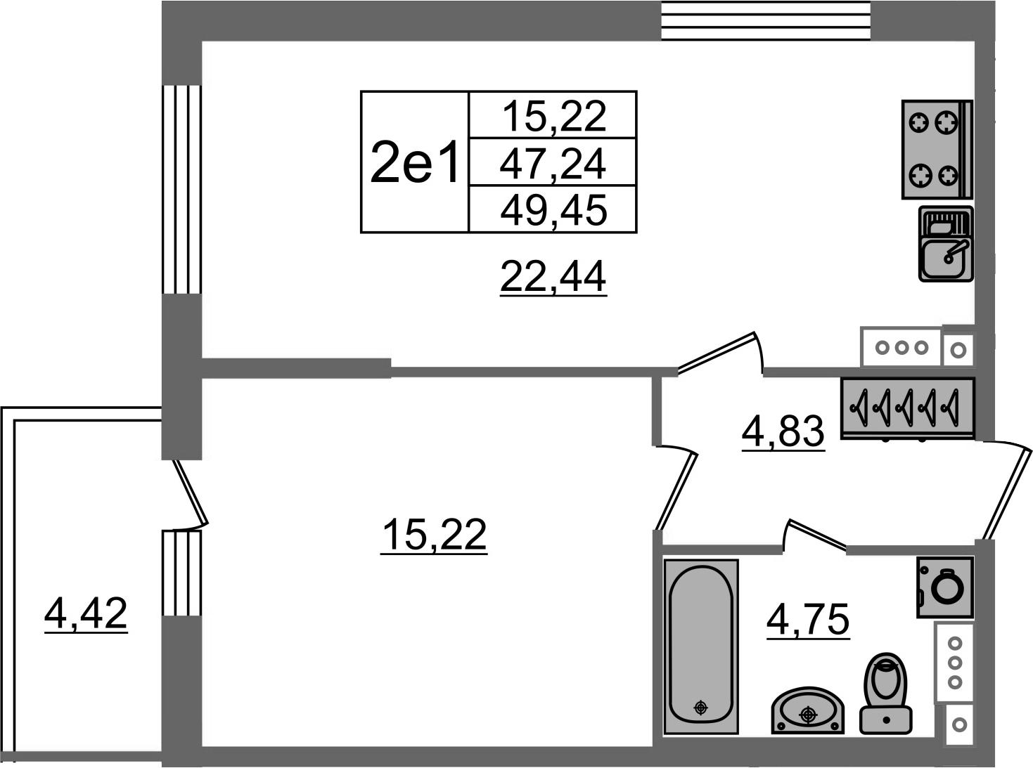 2Е-к.кв, 47.24 м²