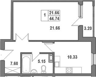 1-комнатная, 46.34 м²– 2