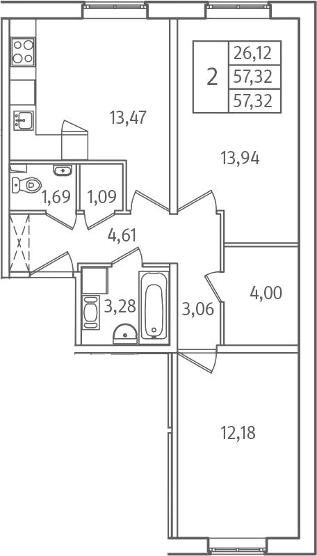 2-комнатная, 57.32 м²– 2