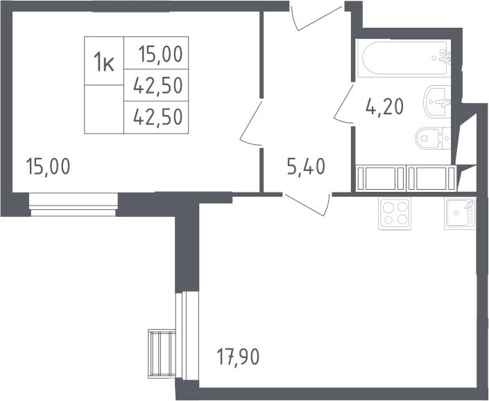 2-к.кв (евро), 42.5 м²
