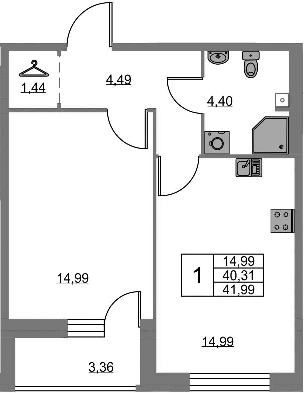 1-к.кв, 43.67 м²