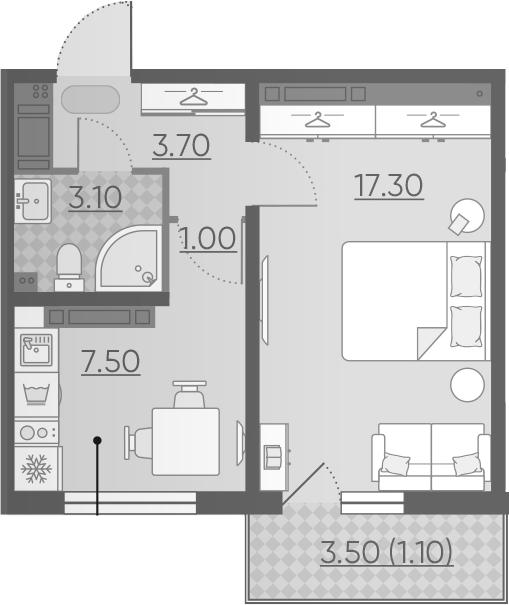 1-к.кв, 33.7 м²