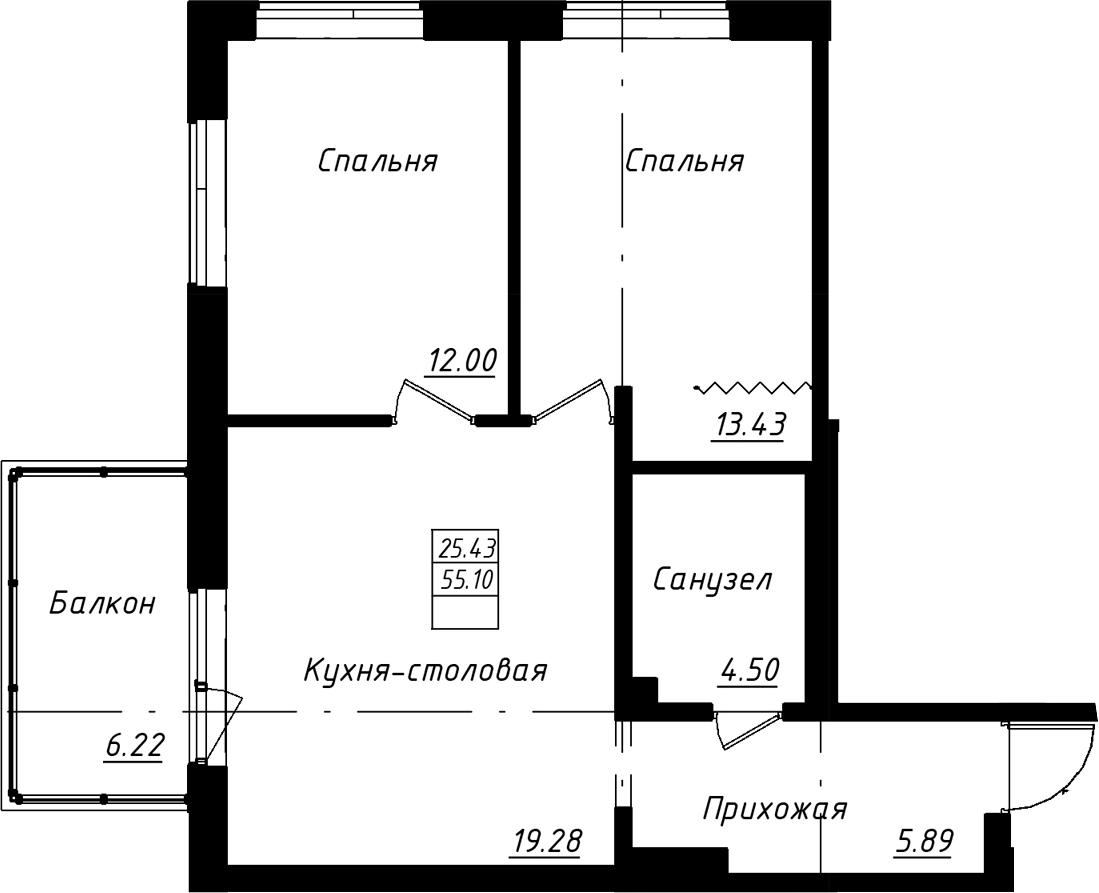3-к.кв (евро), 61.33 м²
